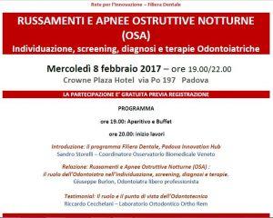 RUSSAMENTI E APNEE OSTRUTTIVE DEL SONNO – Padova 08/02/2017